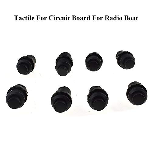 Auleswet Mini Push Button Switch Self Locking Latching 12mm Diameter 12v Round Green Cap 8pcs On Off Switch Spst Tactile for Circuit Board for Radio Boat