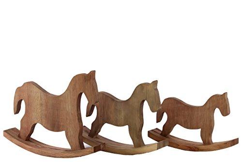 Urban Trends Wood Rocking Horse, Natural Wood Finish, Set of 3