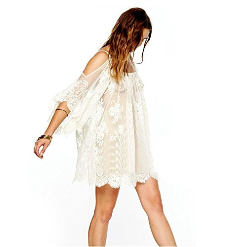 UPLOTER Vintage Embroidered Floral Lace Crochet Mini Dress - Lace Embroidered Crochet