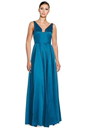 Halston Heritage Seamed Satin Sleeveless Fit & Flare Evening Gown Dress (Seamed Gown Satin)