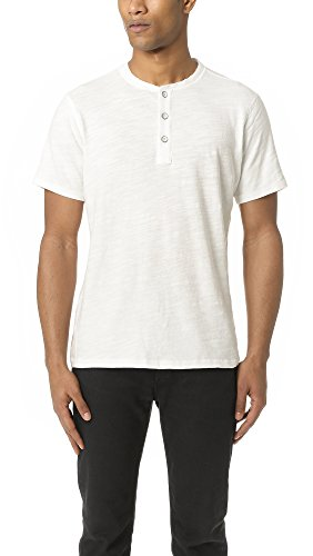 Rag & Bone Standard Issue Men's Standard Issue Short Sleeve Henley, White, Medium