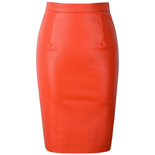 Huangzhe Sexy Faux Fur Leather PU High Waist Midi Women Pencil Skirts Pink Office Wrap Bodycon Short Orange L (Pencil Fur Skirt)