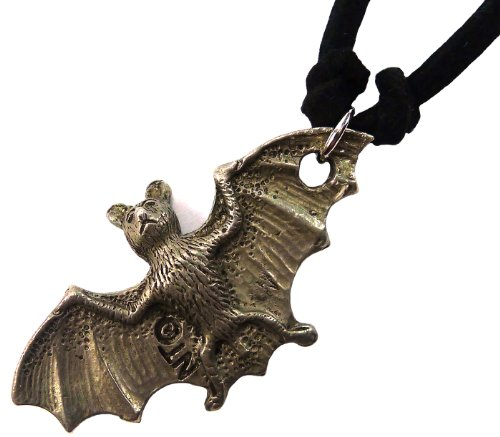 Bijoux De Ja Pewter 3D Flying Bat Pendant Suede Cord Necklace 16 - West Jewelry Repair Side Upper