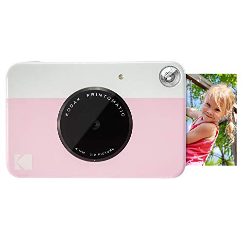 Kodak PRINTOMATIC Digital Instant Print Camera (Pink), Full Color Prints On ZINK 2×3 Sticky-Backed Photo Paper – Print Memories Instantly (Certified Refurbished)