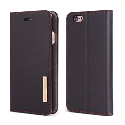 iPhone 6S Case, iPhone 6 Case, BENTOBEN Genuine Leather Folio Flip Wallet Case Magnetic Closure Stand 3 Credit Card Slots Cash Compartment Business Men Protective Cover for iPhone 6 / 6S 4.7