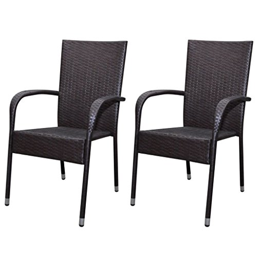 Festnight Outdoor Garden Patio Wicker Stacking Dining Chairs Set of 2 ,Poly Rattan