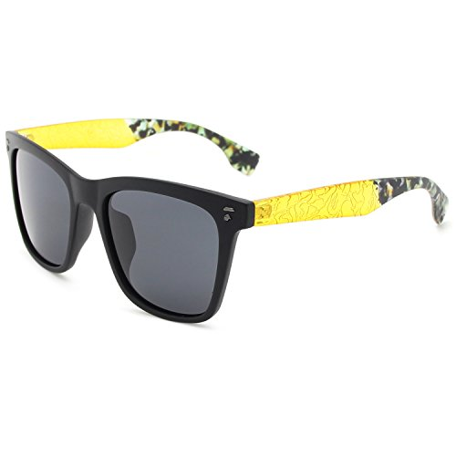 AMZTM Square Frame Reflective Mirrored REVO Lenses Luxury Arms Wayfarer Sunglasses For Women Trend Colorful Driving Glasses (Yellow Arm With Grey Lens, - Lens Sunglasses Trend Yellow