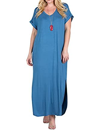 Womens Plus Size Maxi Dresses V Neck Casual Summer Short