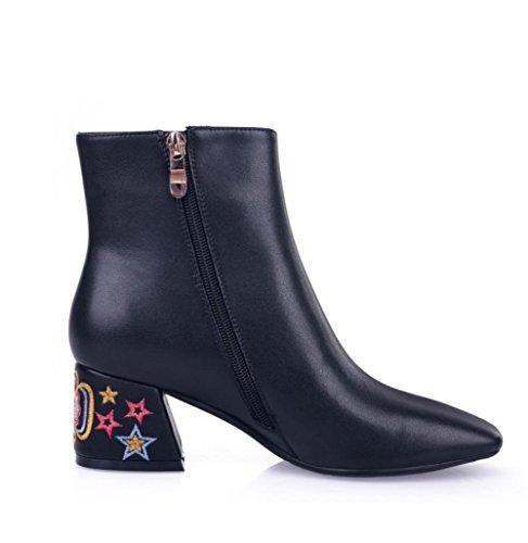 Best 4U® Scarpe da donna Stivali invernali in vera pelle Stivali tacco grosso Stivaletti a punta Stivaletti Fiore per ricamo