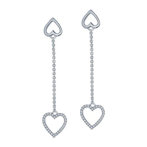 1/7 cttw Round White Diamond Sterling Silver Heart Tassel Earring Drop Dangle Heart Earring by La Joya