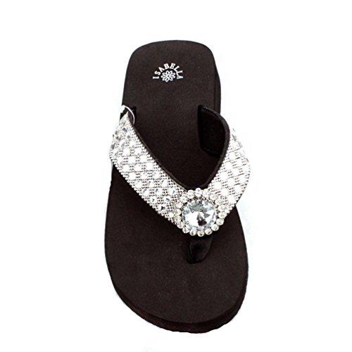 Premium Western Rhinestone Sliver Concho BlingBling Flip Flops (Medium) - Texas Flip Flop
