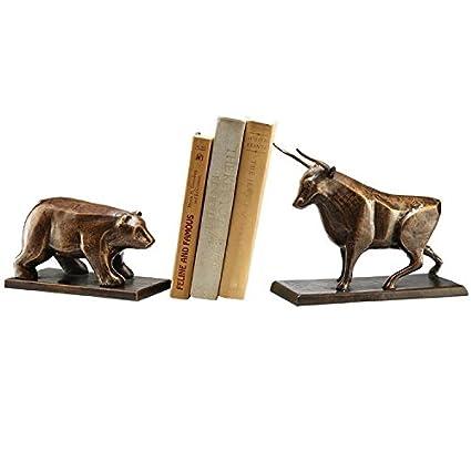 SPI Home Bull U0026 Bear Bookends,Brown,4.0x7.5x10.5