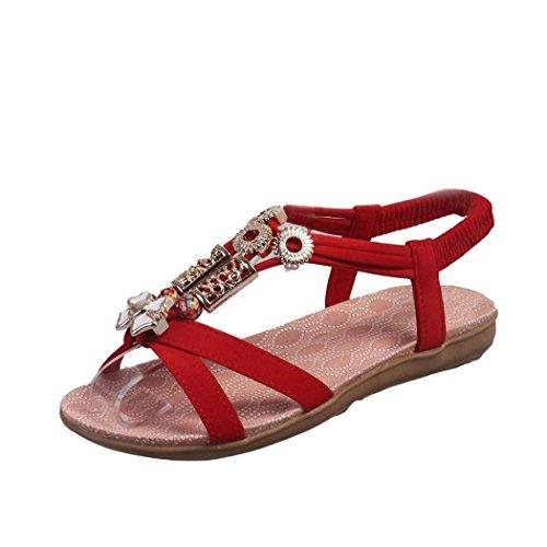 Sommar Sandaler, Inkach Mode Kvinnor Böhmen Sandaler Läder Platta Skor Röd