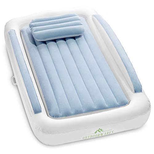 inflatable travel bed for kids Toddler camping or floor bed Portable Blow Up Mattress Blue