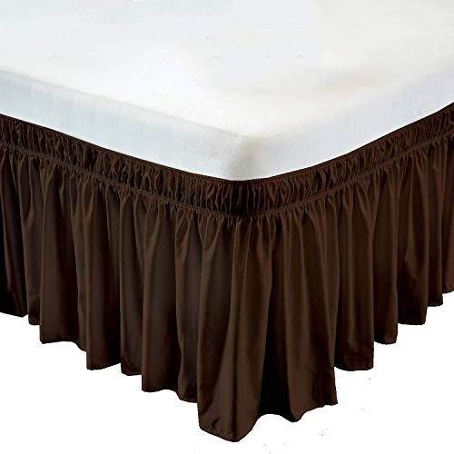 (Chocolate, Queen Size 12 inch Drop - Wrap Around Elastic Bed Skirt - Poly Cotton - Easy On/Easy Off Dust Ruffled Bed Skirts Soft & Wrinkle Free Bed Skirt.)