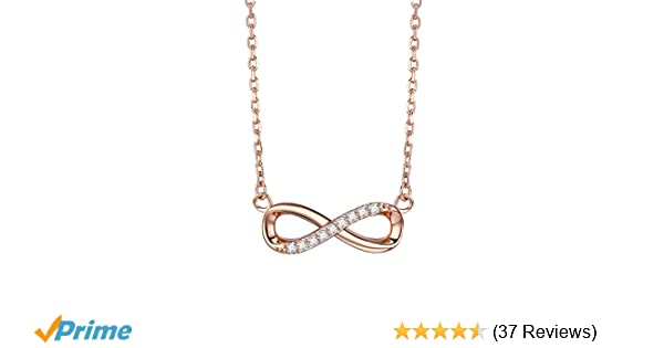 8031fc031 Amazon.com: F.ZENI Women Necklace Infinity Forever Love 925 Sterling Silver  Yellow Gold Rose Gold Plated Pendant Delicate Choker for Women Girls with  Gift ...