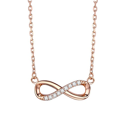 F.ZENI Women Necklace Infinity Forever Love 925 Sterling Silver 18K Yellow Gold Rose Gold Plated Pendant Delicate Choker for Women Girls with Gift Box 16