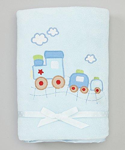 Spasilk Baby-Boys Newborn Extra Thick Plush Blanket with Satin Trim, Blue Train, 30 Inchx40 Inch (Train Satin Soft)