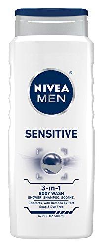 NIVEA MEN sensible 3 en 1 Body Wash para cuerpo, cara y cabello, 16.9 oz botella (paquete de 3)
