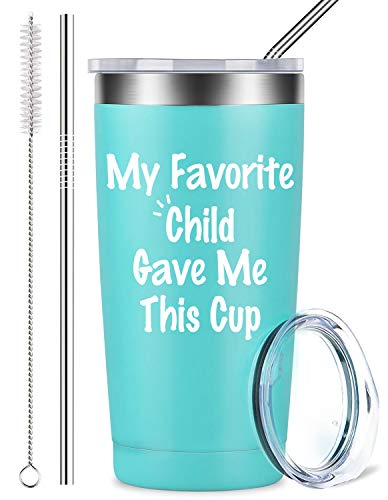 My Favorite Child Gave Me This Cup - Best Mom & Dad Funny Gifts, Stainless Steel Mug Tumbler with Lid and Straw, Father's Day Novelty Present Idea for Women, Men, Him, Her (20 oz, Blue) ()