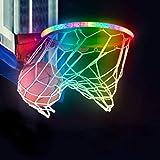 AMODAI LED Basketball Hoop Lights Basketball Rim LED Light Swish LED Solar Light Glow in The Dark Gift for Indoor/Outdoor Basketball Hoop 4.9ft