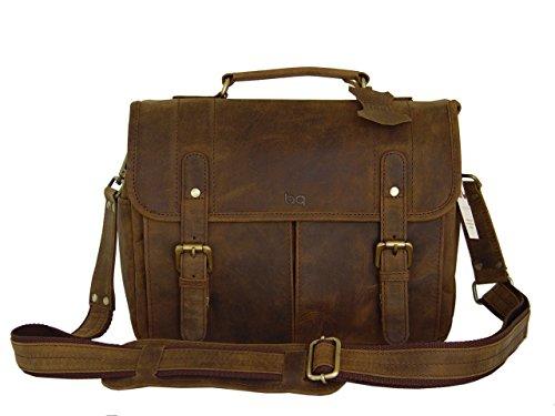 Vintage Rustic Look Leather Camera Messenger Bag By Basic