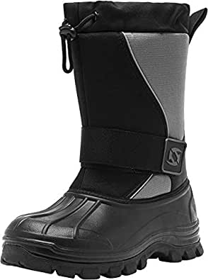 Leisfit Mens Winter Waterproof Boots Slip Resistance Hiking Ankle Fur Snow Boots for Men Black Grey 7.5