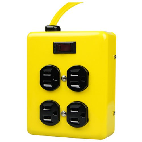 Yellow Jacket 2177N 4-Outlet Metal Power Block Adapter with Lighted Switch, 4-Feet, Yellow