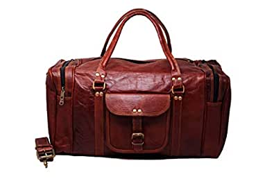 Amazon.com: Mens piel Duffle Bag Carry On pequeñas Fin de ...