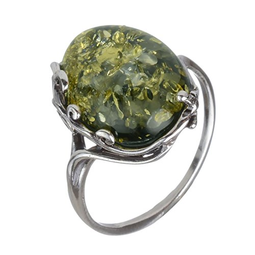 Amber Stone Jewelry - HolidayGiftShops Sterling Silver and Baltic Green Amber Ring Dana size: 8