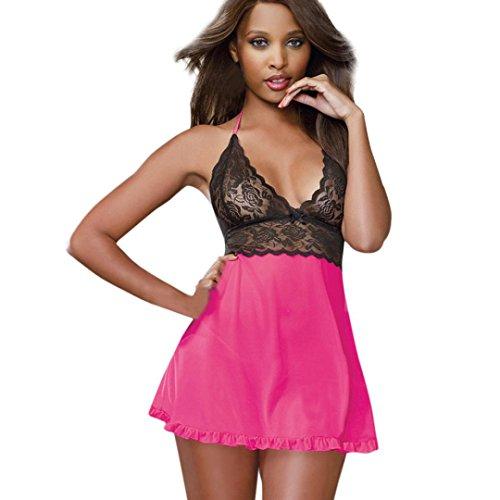 - Creazy Lingerie Women Sexy Underwear Babydoll Sleepwear Lace Dress G-string Set (Hot Pink)