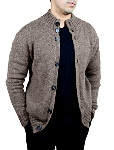 Cashmere Boutique: Men's Buttoned Cardigan in 100% Pure Baby Alpaca (Color: Melange Brown, Size: Medium)