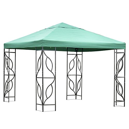 10'X10' Green Gazebo Patio Canopy Tent Outdoor Party Shelter Waterproof Top (Barn Style Portable Garage Canopy)