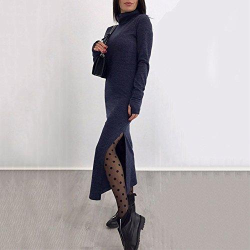 Maglione Blu Bodycon Chicfor Dolcevita Donne Maxi Manica Inverno Alta Vestito Cavo Fessura Lunga Maglia Nero Lungo aR4Oqn1