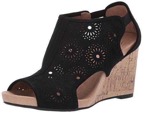 LifeStride Women's HINX Floral Wedge Sandal, Black, 9 W US