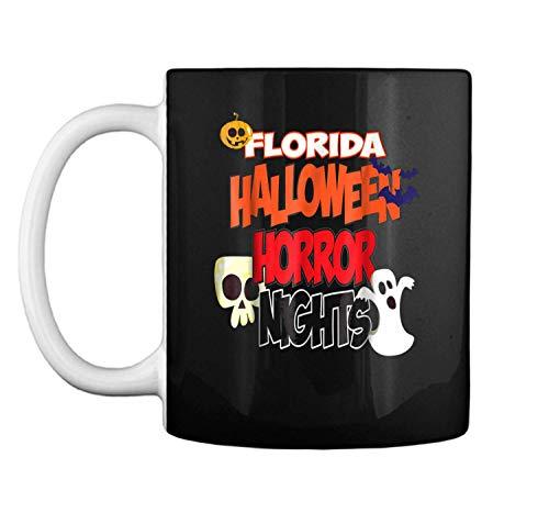 Florida Halloween Horror Nights Skull Pumpkin Mug Coffee Mug (White, 11 oz)]()