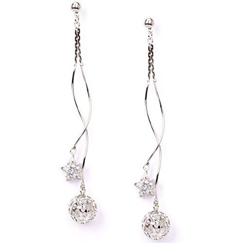 Cubic Zirconia Star Dangle Earring CZ Earrings Women Accessory Stud Back (silver) (Cubic Zirconia Star Dangle)