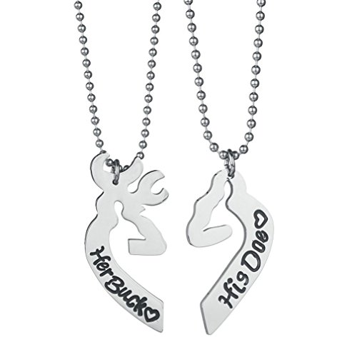 4EAELove Elk Necklace Stainless Steel Deer Couple Pendant Matching Heart Promise Gift Her Buck His Doe Engraved for Lover Christmas Valentine's Day