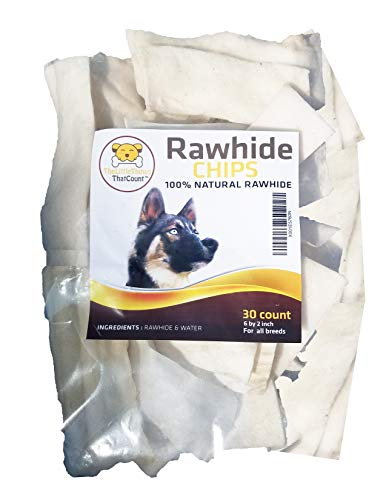 TheLittleThingsThatCount 100% Natural Rawhide Chips, Rawhide Chews for Puppies and Dogs, 30 Count/1lb of FDA Approved Chew Chips for Dental-Friendly, Natural Teething for Your Pet (100% Natural Rawhide)