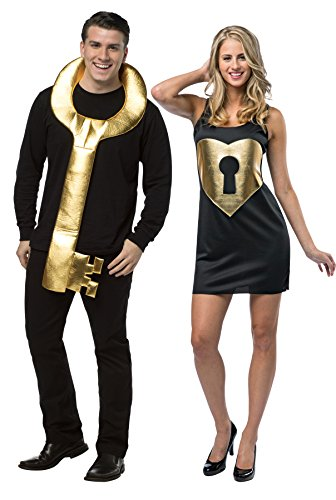 [UHC Key To My Heart Adult Gold Locket Comical Theme Disguise Couples Costume, OS] (Couples Scary Costumes)