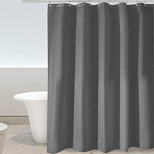 Eforgift Classical Fabric Shower Curtain Water Resistant and Mildew-Free Bath Curtain Extra Long Non-Plastic 100% Polyester Fade Proof and Long Lasting, Charcoal, 72 inches by 84 inches