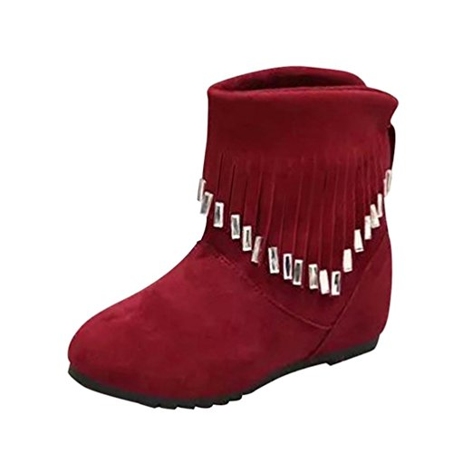 KIMODO Women Boots Flat Low Slip-On Tassel Ankle Boots Casual Martin Boots Shoes Red