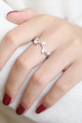 - Generic S925 sterling silver zircon diamond ring women girls lady index finger hypoallergenic vine leaves fresh temperament Korea