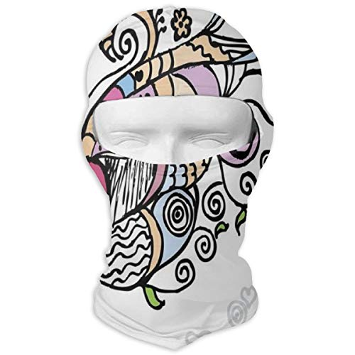 (Xuforget Doodle Cute Drawing of A Flying Heart Waving Bannerlike Objects Man & Women Balaclavas Full Face Mask Hood White)