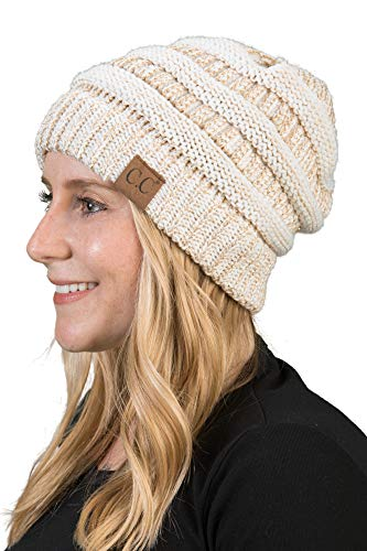 Funky Junque H-6020a-2502 Solid Ribbed Beanie - Ivory/Metallic Gold