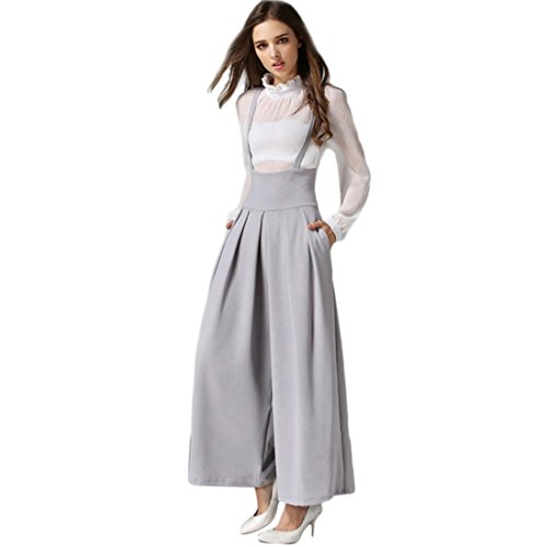 Jushye Womens Wide Leg Jumpsuit, Ladies Casual Pleated High Waisted Palazzo Pants Suspenders Trousers (Grey, (New Ladies Pleated Dress Pants)