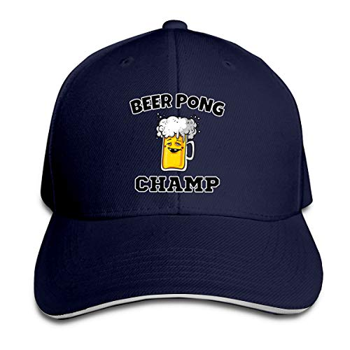 Funny Beer Pong Champ Visor Trucker Cap Unisex Style Headwear Classic Adjustable Baseball Dad Hat for Travel Navy ()