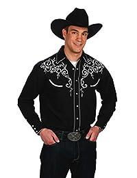 Western Express Men's Cotton Blend Retro Leaf Embroidery Shirt
