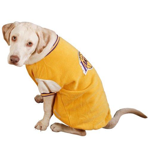 NBA Los Angeles Lakers Pet Varsity Jacket - Gold (Medium) by Football Fanatics