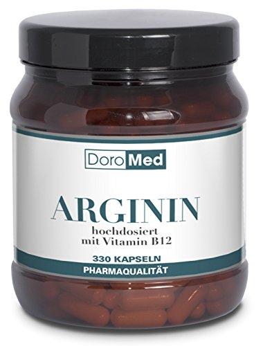 L-Arginin Kapseln - Hochdosiert und Rein - 3.652 mg L-Arginin Pulver + 2,5 µg Vitamin B12- pro Tagesdosis (4 Kapseln) - 330 Kapseln - Pharmaqualität Deutscher Herstellung
